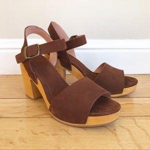 Madewell Wooden Heel Platform Suede Sandals